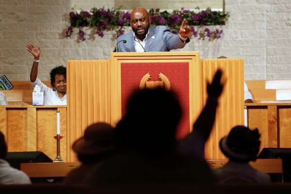 The Rev. Stephen Howard gives a fiery sermon during a service at Cornerstone Missionary Baptist Church in Elizabeth City, North Carolina, on Sunday, July 21, 2019.