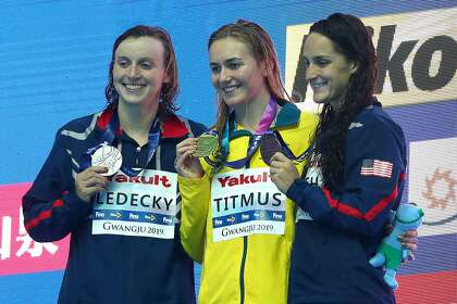 Katie Ledecky stunned in 400 free at worlds; China's Sun wins record title