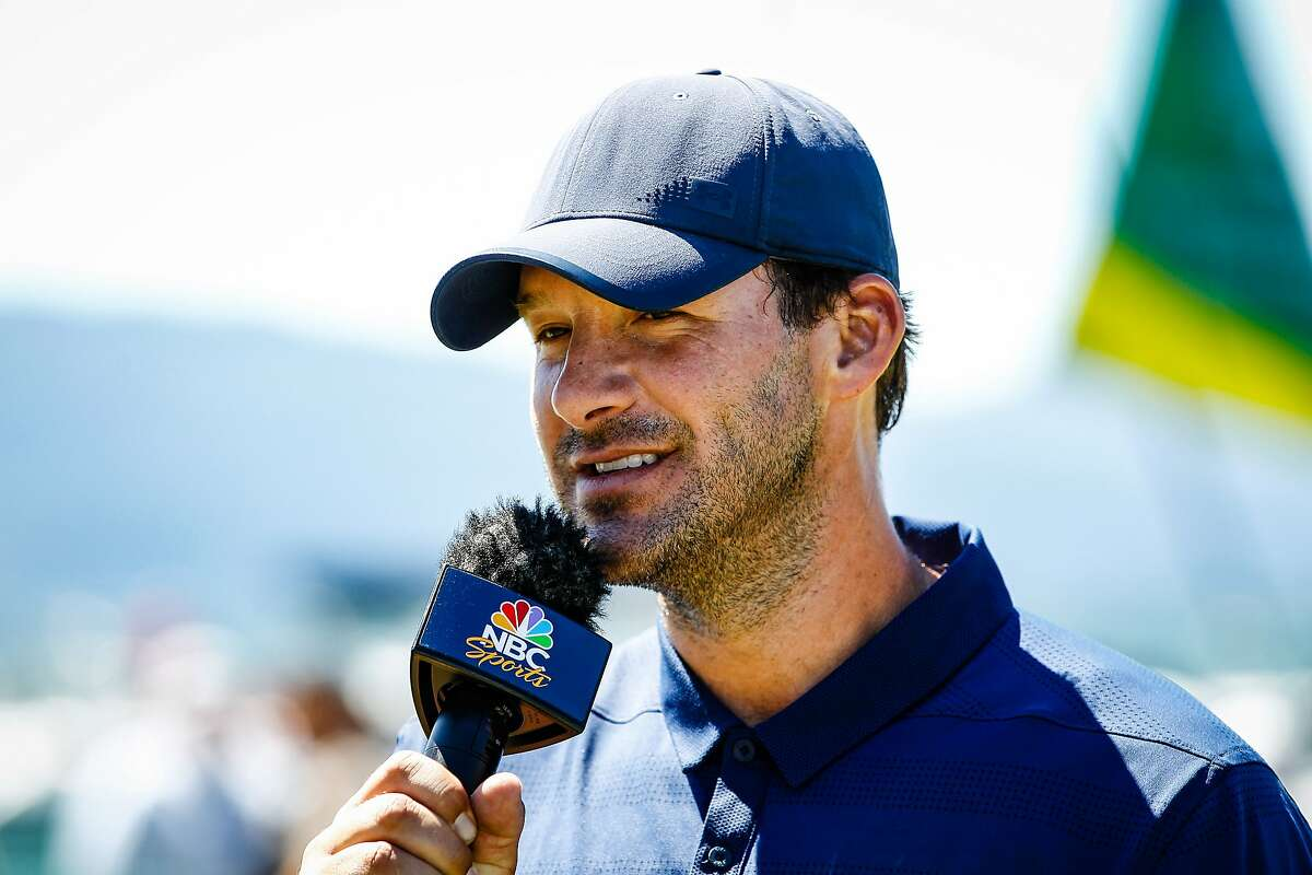 STATELINE, NEVADA - JULY 14: Tony Romo speaks on TV after winning the American Century Championship at Edgewood Tahoe Golf Course on July 14, 2019 in Stateline, Nevada. (Photo by Jonathan Devich/Getty Images)