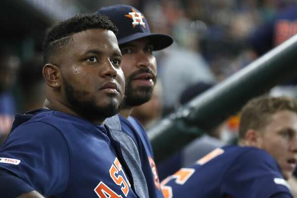Houston Astros starting pitcher Rogelio Armenteros (61) sits in the dugout during the fifth inning of an MLB baseball game at Minute Maid Park, Sunday, July 21, 2019.