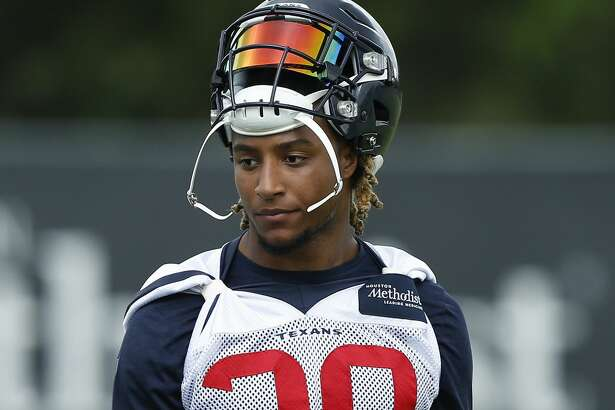 HOUSTON, TX - MAY 21: Justin Reid #20 of the Houston Texans during Houston Texans OTA's at the Houston Methodist Training Center on May 21, 2019 in Houston, Texas.(Photo by Bob Levey/Contributor)