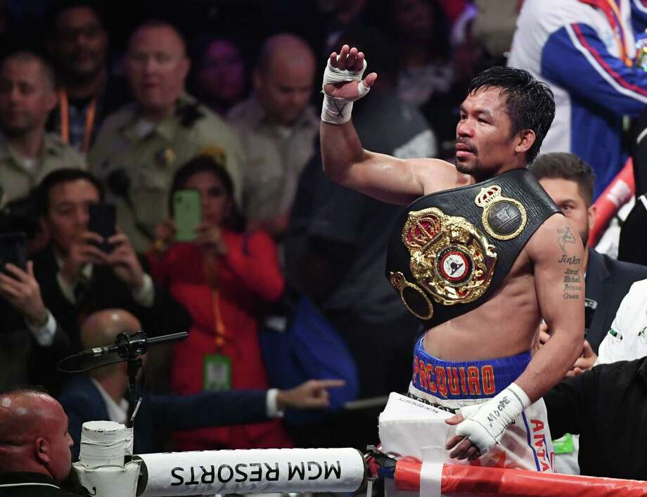 "Manny Pacquiao Manny picked up a split decision over Keith ""One Time"" Thurman to capture the Welterweight World Title in Premier Boxing Champions at the MGM Garden Arena in Las Vegas Saturday. Photo: Ethan Miller /Getty Images / 2019 Getty Images"