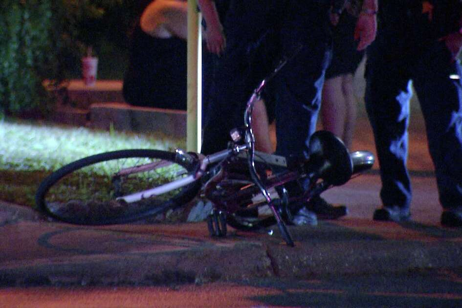 A bicyclist was taken to a local hospital after a pickup truck crashed into him Sunday night on the city's West Side, San Antonio police said.