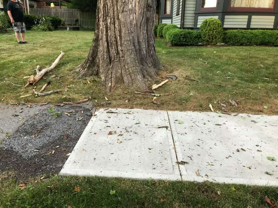 A tree was struck by lightening in front of an historic home on South Main Street the evening of Sunday, July 21, 2019. Photo: Contributed Photo / Water Witch Hose Co. #2