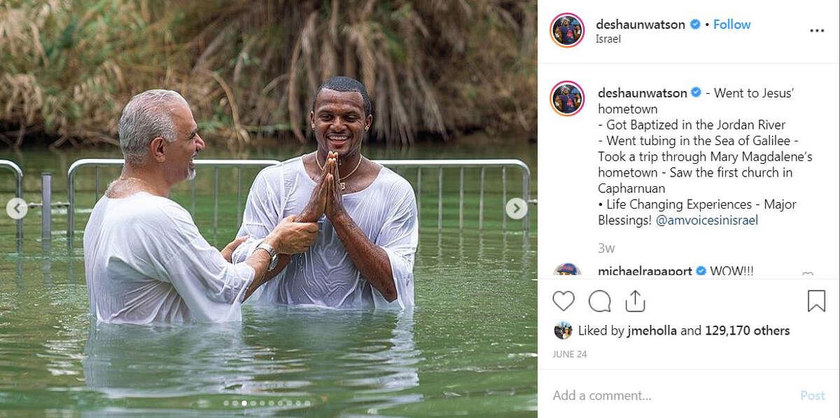 Houston Texans quarterback Deshaun Watson got baptized in the Jordan River.