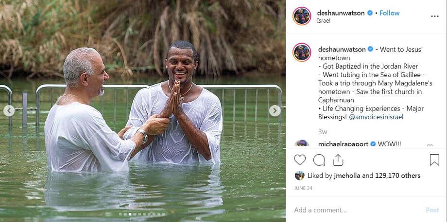 Houston Texans quarterback Deshaun Watson got baptized in the Jordan River. Photo: Instagram.com/DeshaunWatson