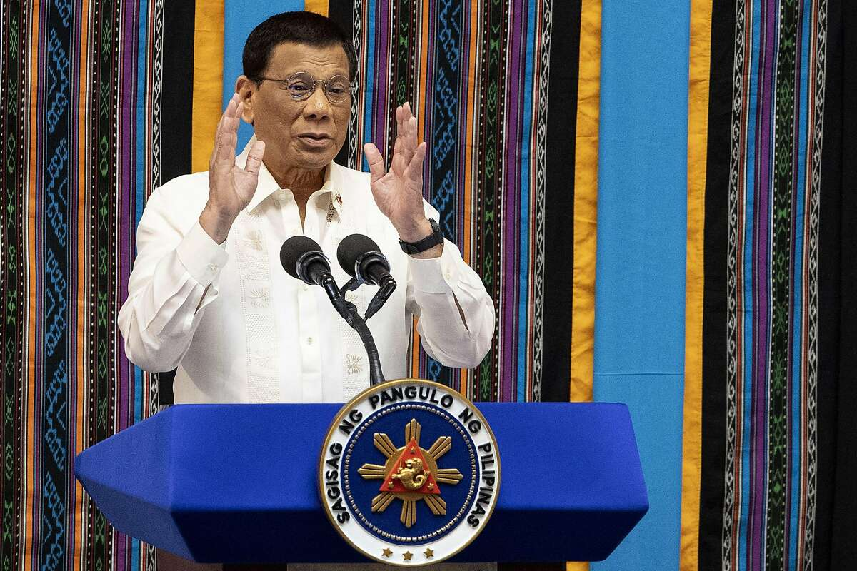 Philippine President Rodrigo Duterte gestures as he delivers his state of the nation address at Congress in Manila on July 22, 2019.� (Photo by Noel CELIS / AFP)NOEL CELIS/AFP/Getty Images
