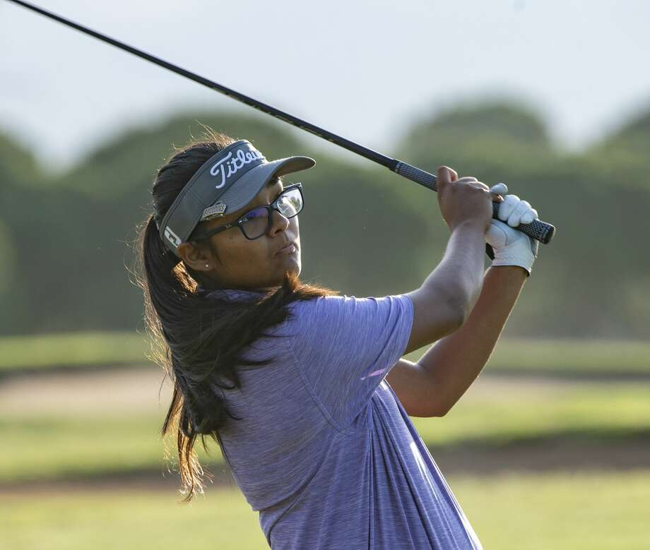 Anaya Perales follows her shot 07/22/19 in the qualifying round of the Women's City Golf Tournament. Tim Fischer/Reporter-Telegram Photo: Tim Fischer/Midland Reporter-Telegram