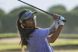 Anaya Perales follows her shot 07/22/19 in the qualifying round of the Women's City Golf Tournament. Tim Fischer/Reporter-Telegram
