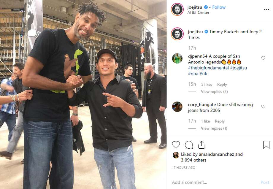 "UFC Star Joseph Benavidez, or @joejitsu on Instagram, posted ""Timmy Buckets and Joey 2 Times."" Photo: Instagram Screengrab"