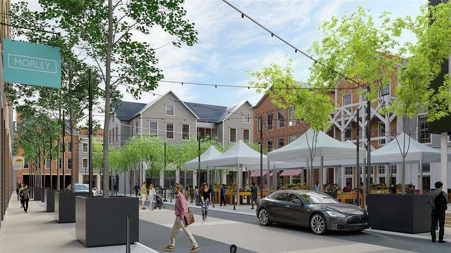 The Corbin District, a mixed-use redevelopment of downtown Darien. The 7.17-acre site spans from Corbin Drive to the Bank of America building on the Post Road. Work is expected to begin on the project in early 2020. Photo: Baywater Properties / Connecticut Post