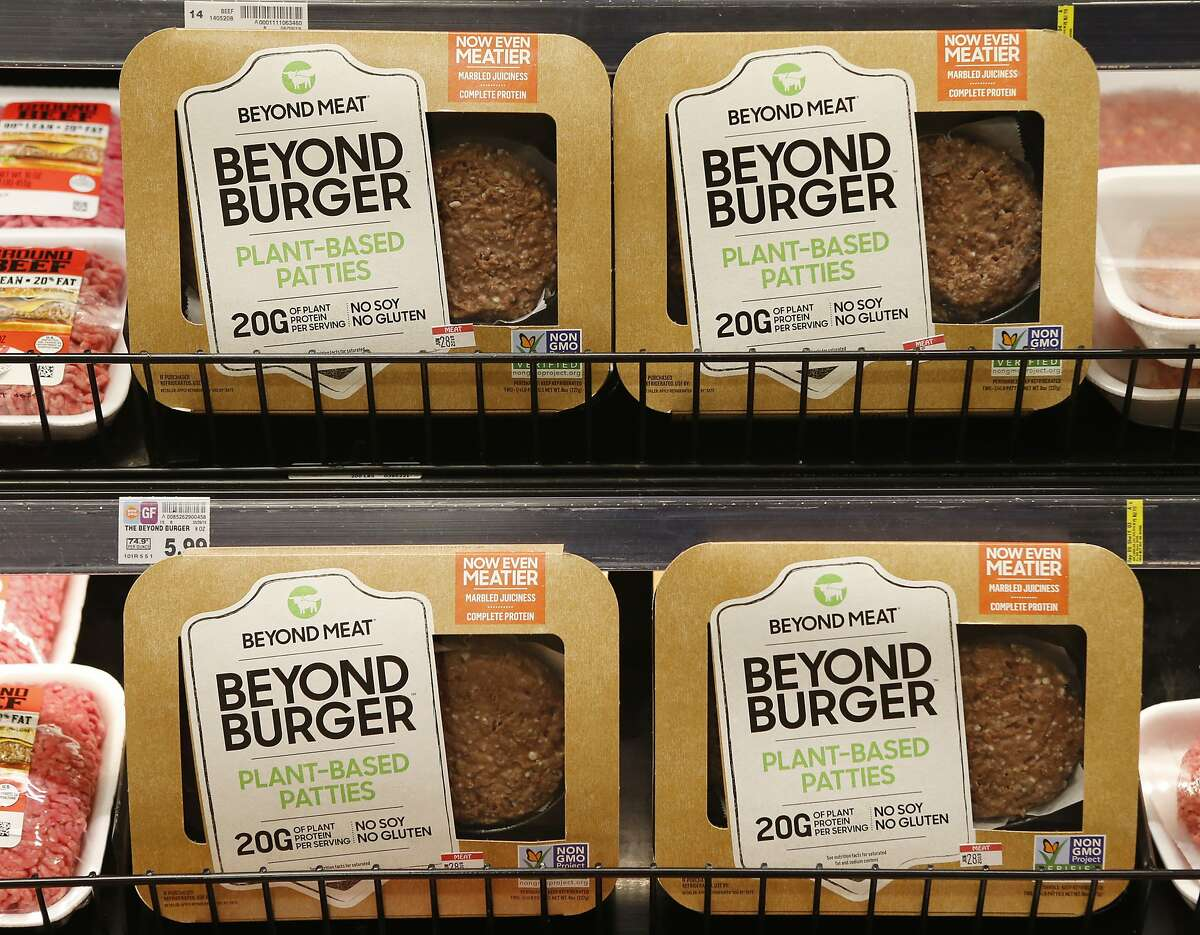 FILE - A meatless burger parry called Beyond Burger is on display at a grocery store in Richmond, Va., Thursday, June 27, 2019. (AP Photo/Steve Helber)