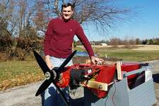 Jack Beetz, of Brighton, has restored a World War II Army target drone that he found in an Alton antique shop last year.