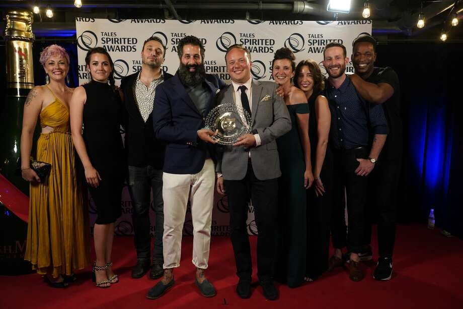 Trick Dog was recognized on Saturday, July 20, 2019 with the World's Best Cocktail Menu award in the 13th annual Spirited Awards by the Tales of the Cocktail Foundation. The award ceremony was held in New Orleans. Trick Dog's Josh Harris and Morgan Schick are pictured in the center. Photo: Courtesy Of Cory James Photo