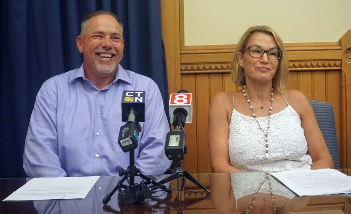 Speaker of the House Joe Aresimowicz, D-Berlin, and House Minority Leader Themis Klarides, R-Derby, held a joint press conference on Friday July 19, 2019 at the state Capitol in Hartford, Conn. to speak in favor of a legislative override of a veto that Gov. Ned Lamont issued on a bill regarding wages for restaurant servers.