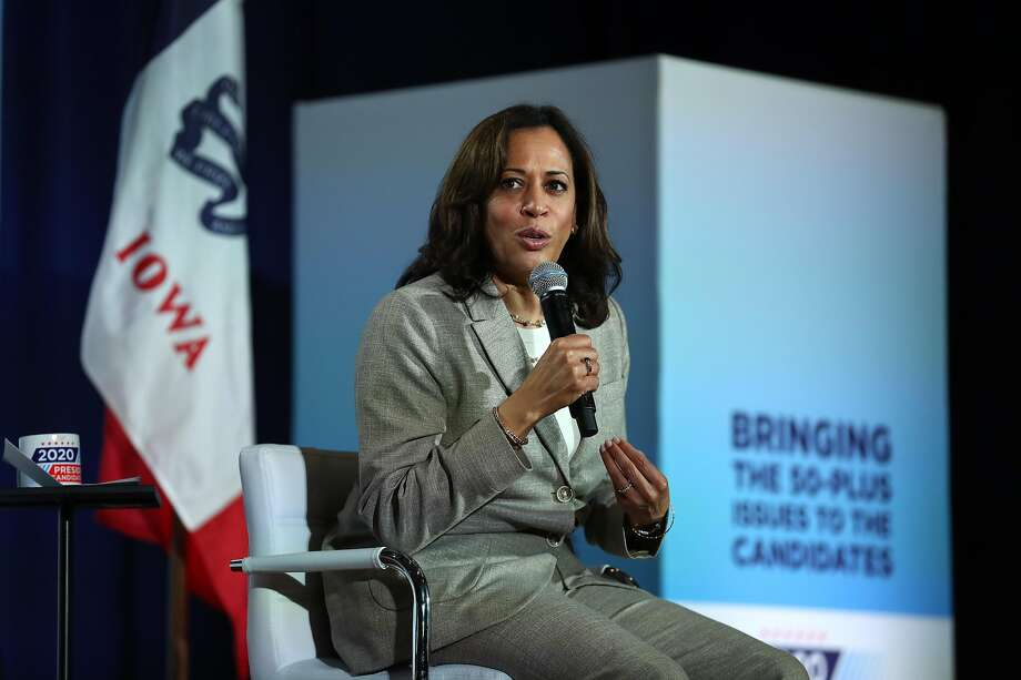 BETTENDORF, IOWA - JULY 16: Democratic presidential candidate U.S. Sen. Kamala Harris (D-CA) speaks during the AARP and The Des Moines Register Iowa Presidential Candidate Forum on July 16, 2019 in Bettendorf, Iowa. Twenty democratic presidential candidates are participating in the AARP and Des Moines Register candidate forums that will feature four candidates per forum that are being to be held in cities across Iowa over five days. (Photo by Justin Sullivan/Getty Images) Photo: Justin Sullivan, Getty Images