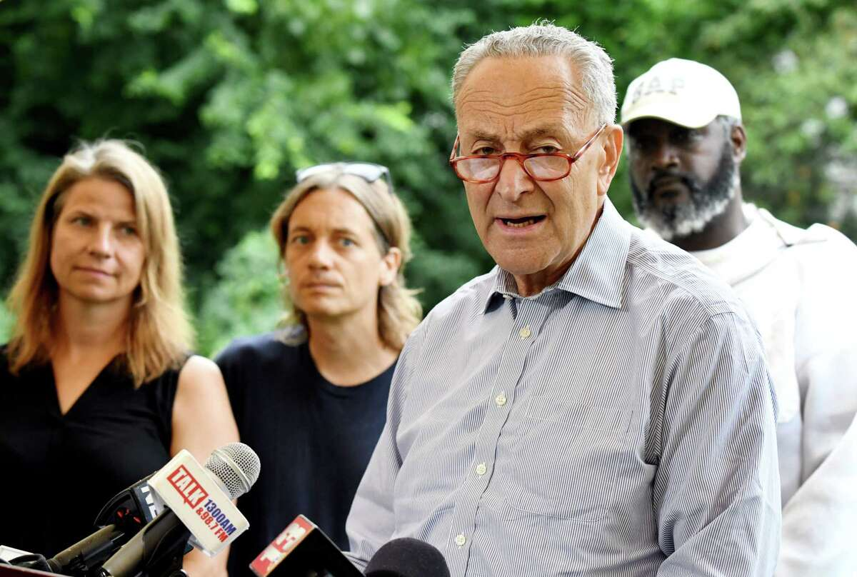 U.S. Senator Charles Schumer discusses a recent decision by the United States Department of Agriculture (USDA) to stop collecting data for its Honey Bee Colonies report on Monday, July 22, 2019, at Radix Ecological Sustainability Center in Albany, N.Y. Sunday Aug. 4, 2019 Schumer called for the U.S. Senate to vote on background check legislation in the wake of two mass shootings.(Catherine Rafferty/Times Union)