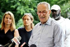 U.S. Senator Charles Schumer discusses a recent decision by the United States Department of Agriculture (USDA) to stop collecting data for its Honey Bee Colonies report on Monday, July 22, 2019, at Radix Ecological Sustainability Center in Albany, N.Y. Schumer urged feds to step-up data collection of insect because it is critical to protecting the Upstate New York agricultural industry. (Catherine Rafferty/Times Union)
