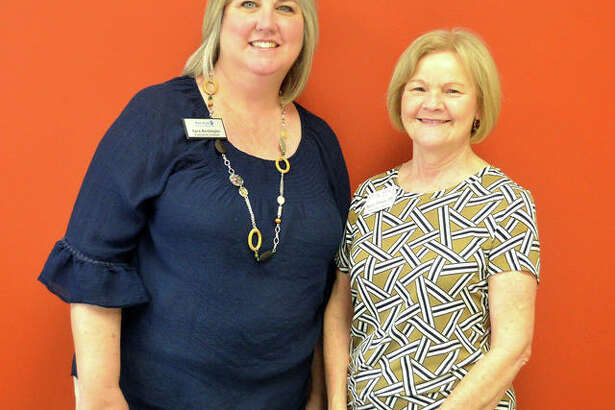 """Sara Berkbigler, left, director of Main Street Community Center, and Stacey Rhodes, director of adult day programs at St. John's Community Care, are partnering to start """"Memories on Main Street: A Memory Café"""" at MSCC starting in September. The monthly program will offer a gathering place for persons with memory loss, mild cognitive impairment, early Alzheimer's or other dementia and their family friends or caregivers."""