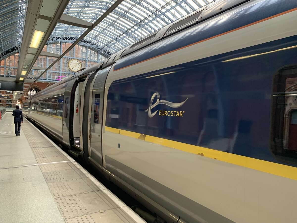 Eurostar train to Paris boarding a London St Pancras station