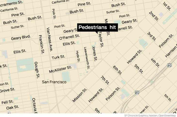 A 21-year-old Vallejo woman was arrested after she allegedly drove a Tesla through a red light, hit another car and then struck a couple in San Francisco's Tenderloin neighborhood, killing the husband in the year's 13th traffic fatality involving a pedestrian.