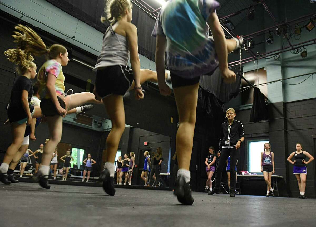 Instructor Erin-Kate McIlravey, third from right, watches students practice during Camp Rince Ceol Irish dance summer school at Union College on Monday, July 22, 2019 in Schenectady, N.Y. (Lori Van Buren/Times Union)