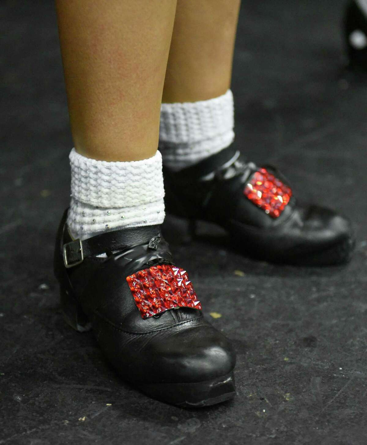 Close up of a student's shoes during Camp Rince Ceol Irish dance summer school at Union College on Monday, July 22, 2019 in Schenectady, N.Y. (Lori Van Buren/Times Union)