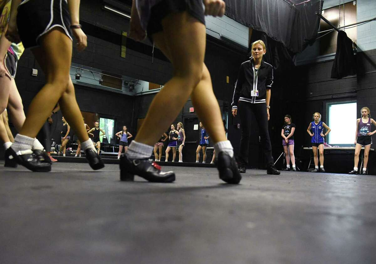 Instructor Erin-Kate McIlravey, fourth from right, watches students practice during Camp Rince Ceol Irish dance summer school at Union College on Monday, July 22, 2019 in Schenectady, N.Y. (Lori Van Buren/Times Union)