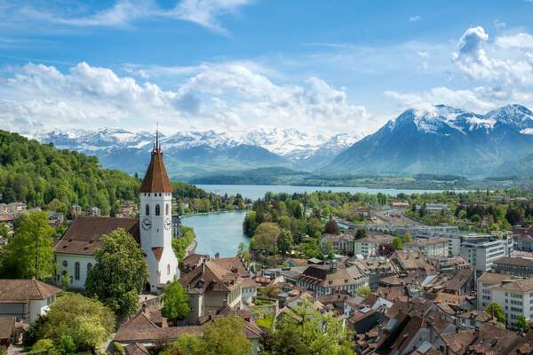 The historic city of Thun, in the canton of Bern in Switzerland
