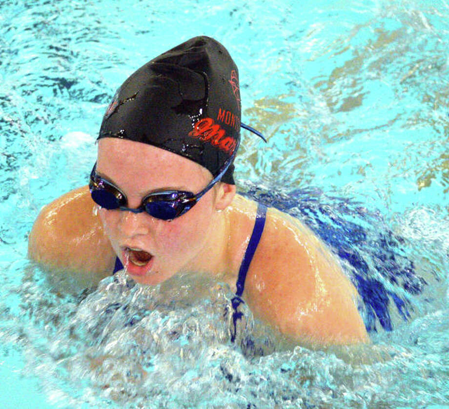 Shelby Markus of Montclaire swims in the 15-18 girls 100-yard breaststroke during Sunday's SWISA Championships at Chuck Fruit Aquatic Center. Photo: Scott Marion/The Intelligencer