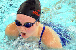 Shelby Markus of Montclaire swims in the 15-18 girls 100-yard breaststroke during Sunday's SWISA Championships at Chuck Fruit Aquatic Center.