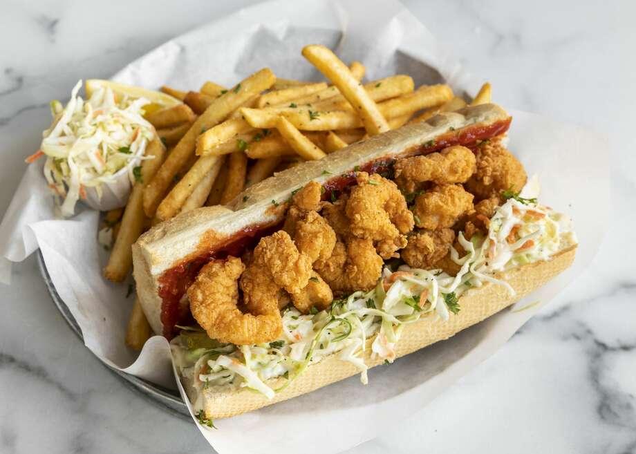 The menu at Pappas Shrimp Shack includes a fried shrimp po' boy. Photo: Courtesy
