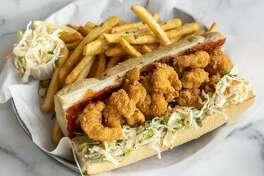 The menu at Pappas Shrimp Shack includes a fried shrimp po' boy.