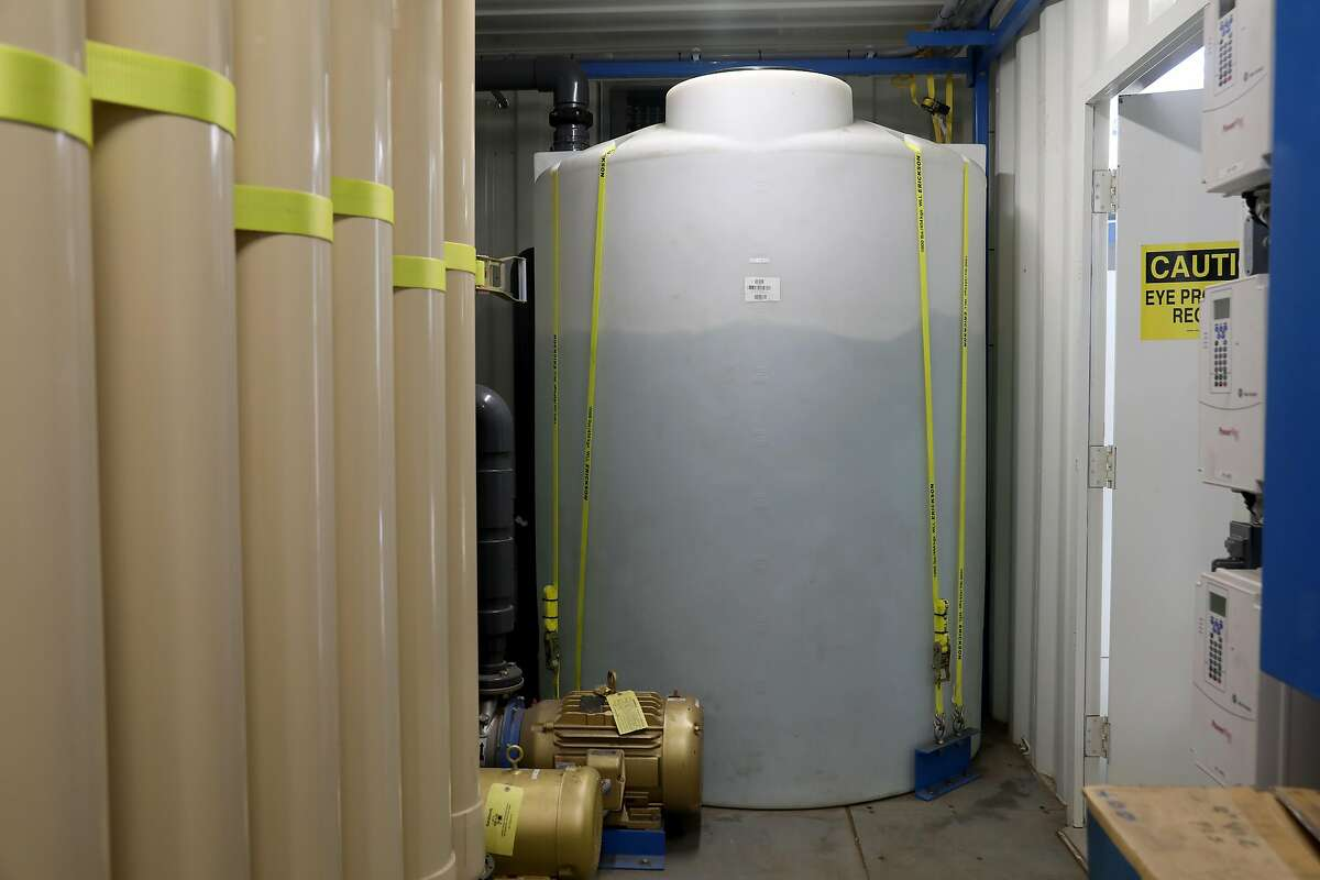 Tank in the middle is holding tank for filtered water which went through micro filtration at the Energy Center San Francisco, part of what is the largest water reclamation project in San Francisco on Tuesday, July 16, 2019 in San Francisco, Calif.