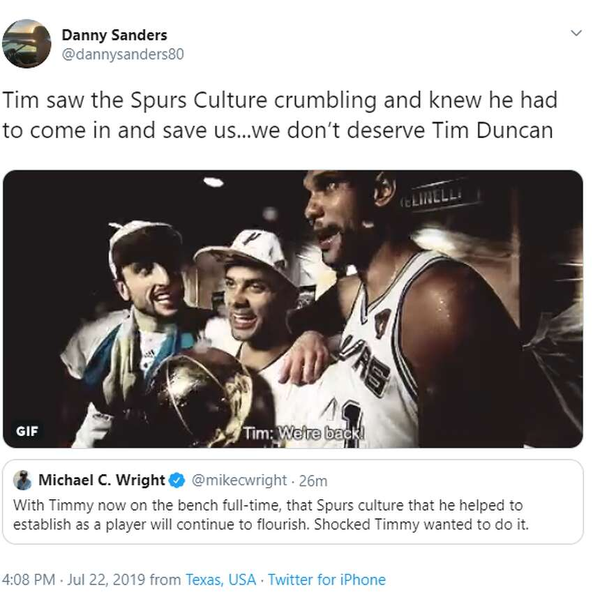 @dannysanders80: Tim saw the Spurs Culture crumbling and knew he had to come in and save us...we don't deserve Tim Duncan