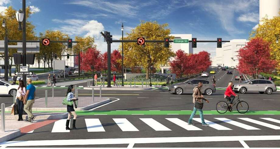 An artist's rendering of Orange Street crossing Martin Luther King Jr. Boulevard and South Frontage Road, where Route 34 is now located. Photo: City Of New Haven / Contributed Illustration