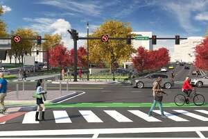 An artist's rendering of Orange Street crossing Martin Luther King Jr. Boulevard and South Frontage Road, where Route 34 is now located.