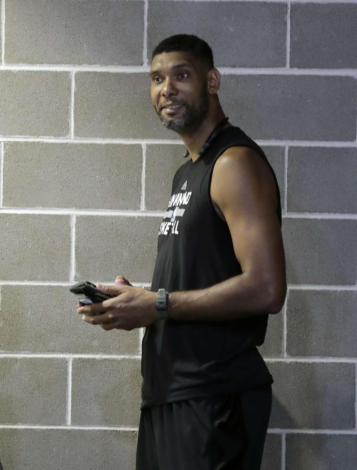 Former San Antonio Spurs forward Tim Duncan at the team's facility, Monday, Sept. 25, 2017, in San Antonio. (AP Photo/Eric Gay)