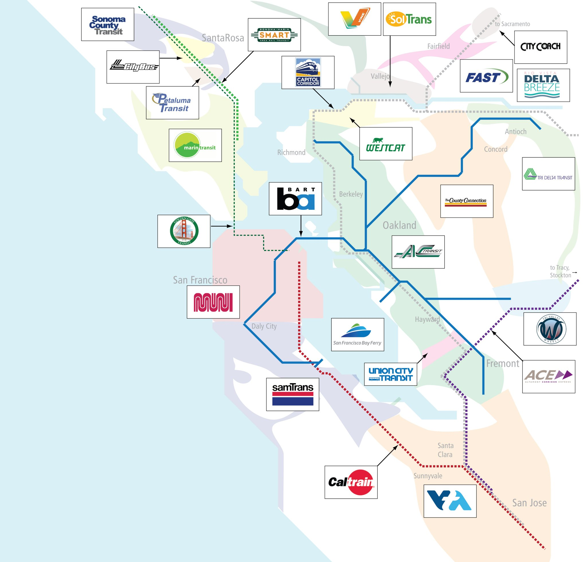 25 Transit Agencies 9 Counties 1 Huge Headache Map Shows Bay Area S Crazy Transit Infrastructure Usa highway map with cities. 25 transit agencies 9 counties 1 huge
