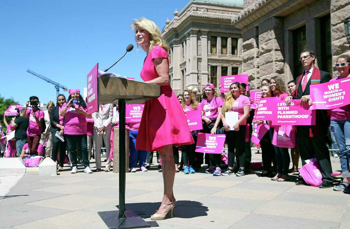Former state senator Wendy Davis speaks at a rally on the Capitol steps during Planned Parenthood Lobby Day in Austin on April 5, 2017.