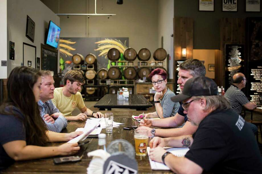 Megan Cardenas, a Temblor Brewing Co. sales representative, right center, participates in a production meeting at the Bakersfield, California, brewery on Tuesday, June 18, 2019. Photo: Photo For The Washington Post By Jenna Schoenefeld. / © 2019 JENNA SCHOENEFELD