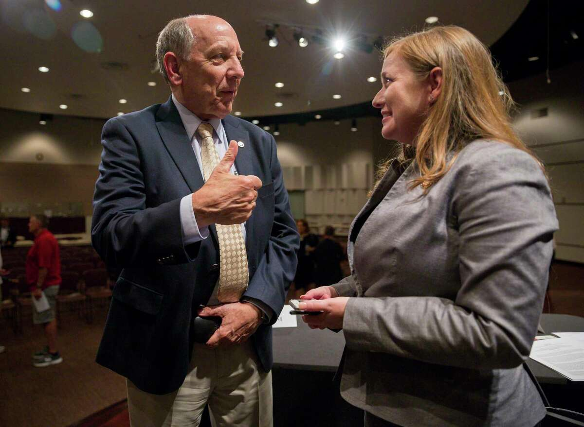 Louis W. Uccellini, director of the National Weather Service, thanks U.S. Rep. Lizzie Fletcher, D-Houston, following a House environment subcommittee hearing at Houston Community College in Houston, Monday, July 22, 2019.