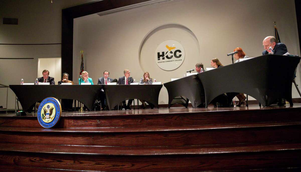 """U.S. Rep. Lizzie Fletcher, D-Houston, hosts members of Congress for a field hearing titled """"Weathering the Storm: Improving Resiliency through Research"""" at Houston Community College in Houston, Monday, July 22, 2019."""