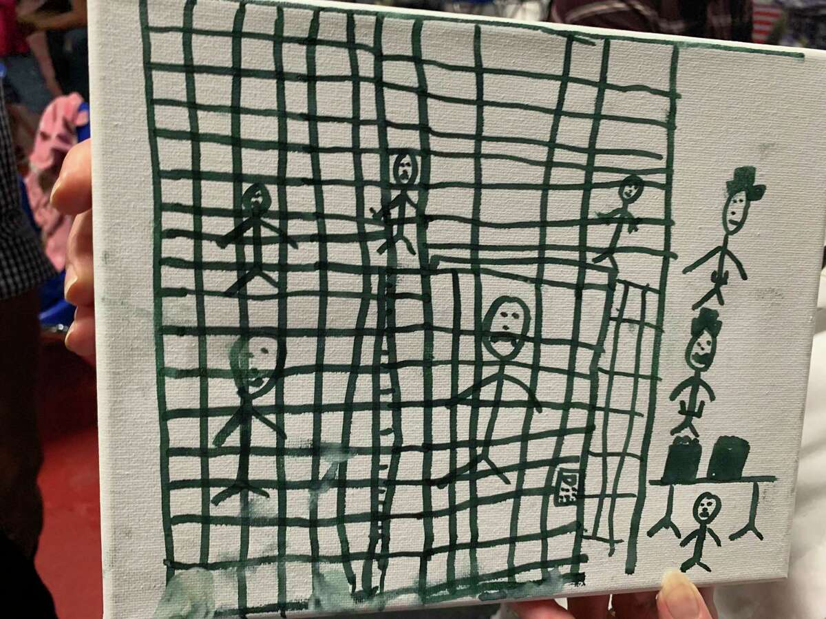 A drawing made by a migrant child in McAllen depicts a border detention center. The inhumane conditions in such facilities is part of a long list of the president's anti-immigrant actions.