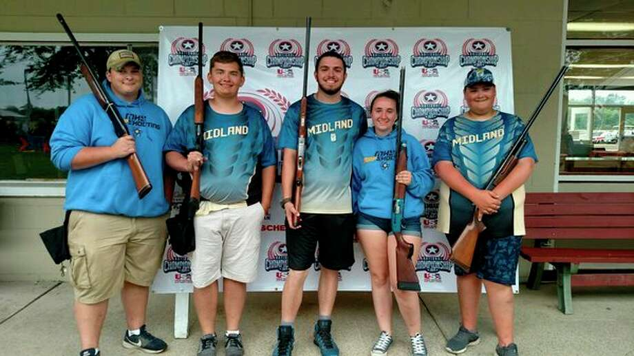 Pictured, from left, are Midland High trap shooting team members Connor Winslow, Dylan MacKenzie, Aaron Garcia, Allie McMillan and Avery Merrow.