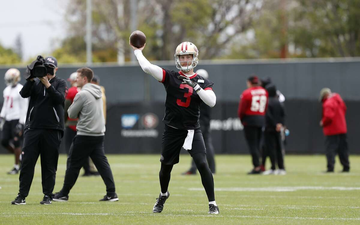San Francisco 49ers quarterback C.J. Beathard (3) throws a pass during a practice at the team's NFL football practice facility, in Santa Clara, Calif., Tuesday, May 21, 2019. (AP Photo/Josie Lepe)
