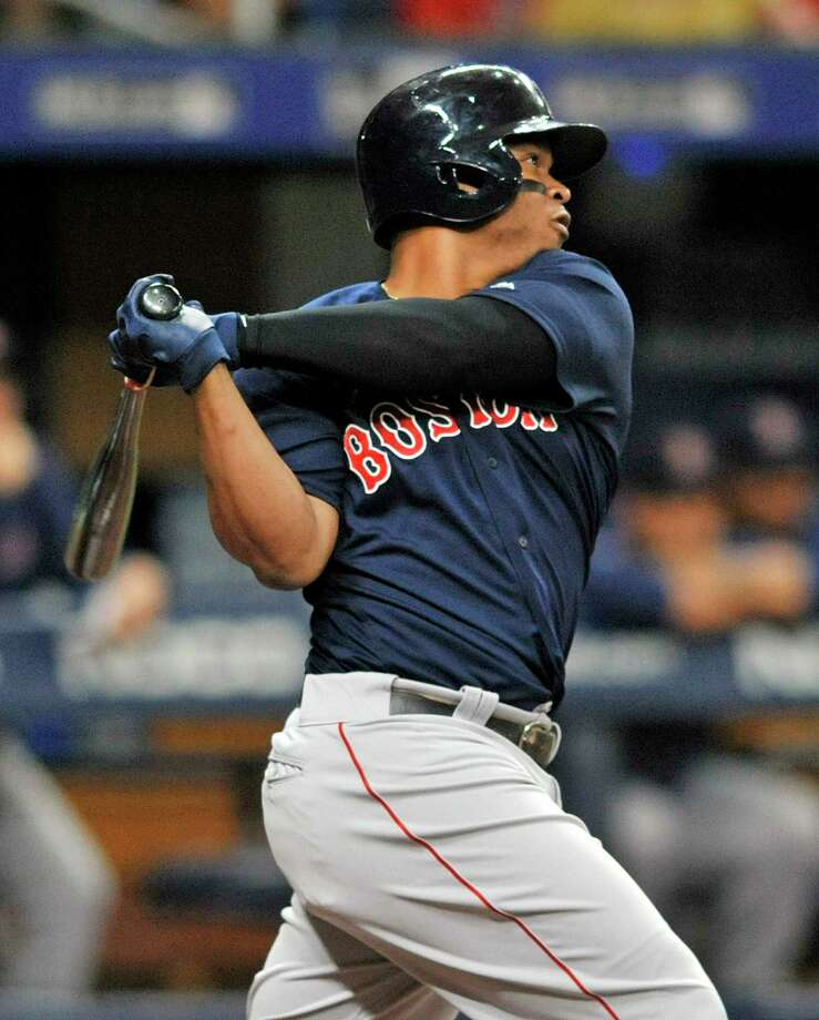 Boston Red Sox's Rafael Devers hits a two-run double off Tampa Bay Rays starter Jalen Beeks during the third inning of a baseball game Monday, July 22, 2019, in St. Petersburg, Fla. (AP Photo/Steve Nesius) Photo: Steve Nesius / Copyright 2019. The Associated Press. All rights reserved