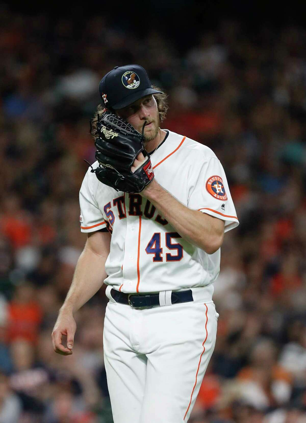 Houston Astros starting pitcher Gerrit Cole (45) reacts after striking out Oakland Athletics Nick Martini to end the sixth inning of an MLB baseball game at Minute Maid Park, Monday, July 22, 2019.