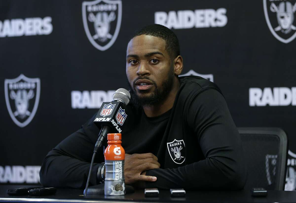 Oakland Raiders cornerback Gareon Conley answers a reporter's question at the NFL football team's mini camp Tuesday, June 12, 2018, in Alameda, Calif. Conley, the Raiders' first pick in the 2017 NFL draft, played in only two regular-season games last season due to an injury. (AP Photo/Rich Pedroncelli)