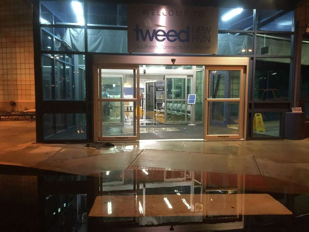 Heavy rains on Monday, July 23, 2019 caused several inches of flooding inside the terminal and on the tarmac at Tweed New Haven Regional Airport.The airport was temporarily closed while crews worked to clean it up.